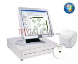 Pack TPV Galicia-SAM4S-WI completo de Color Blanco con programa CodigoAberto para Hostelería
