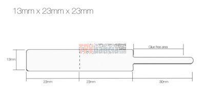 Rollo Etiquetas Joyería tipo lanza para anillos 13mm x 23mm x 23mm
