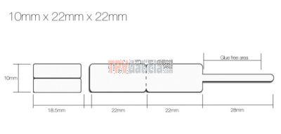 Rollo Etiquetas Joyería tipo lanza para anillos y conjuntos - Blanco - 11mm x 22mm x 22mm - 1.250 etiq