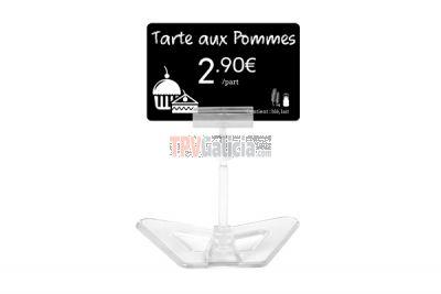 Soporte tarjeta portaprecios base cristal 12 cm altura - Set 25 unidades