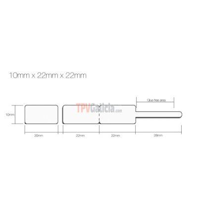 Rollo Etiquetas Joyería tipo lanza para anillos y conjuntos - Blanco - 10mm x 22mm x 22mm - 1.250 etiq