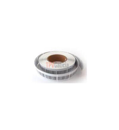 Caja 1.000 etiquetas adhesivas antihurto RF blancas - 4 x 4 con código de barras - Desactivable