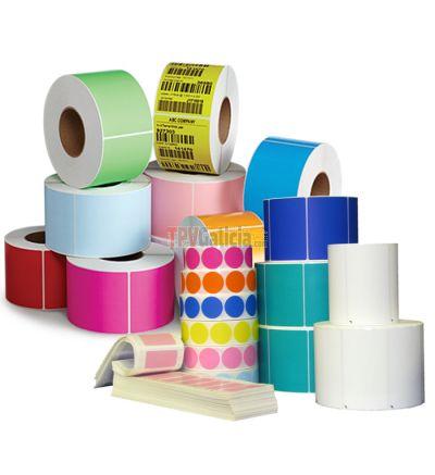 Caja de 30 Rollos de Etiquetas Plásticas PP Transferencia Térmica 100 x 25 mm -  1 Color ( amarillo - rosa - azul - verde)
