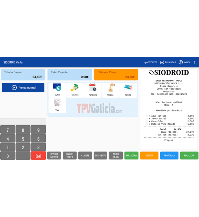 Programa TPV SIODROID PRO ( Licencia de uso para 1 equipo )