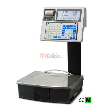 Balanza GPEMI capacidad 6/15kg, división 2/5g, cuerpo y plato 370x310mm de acero inoxidable, pantalla doble LCD retroiluminada, teclado con 66 teclas e impresora térmica integrados sobre columna.
