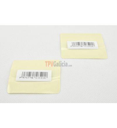Etiqueta adhesiva curva transparentes (código de barras ) 72 x 60 cm- FEEL-SAFE DR AM 58 Khz - Desactivables - Rollo de 1000 unidades