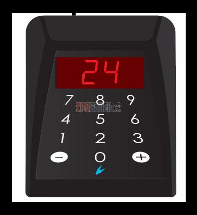 Mando numerico para control de turno con visor 2 digitos