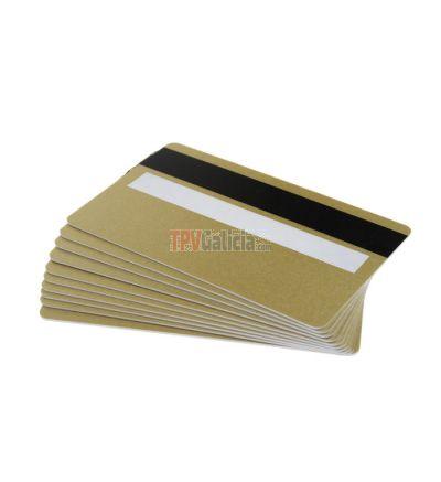 Tarjetas PVC doradas con panel de firma y banda magnética para impresoras de tarjetas (Pack de 100)