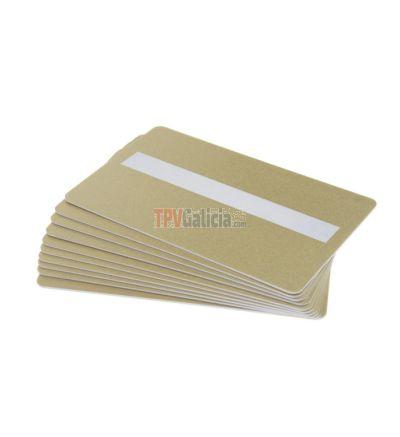 Tarjetas PVC doradas con panel de firma para impresoras de tarjetas (Pack de 100)