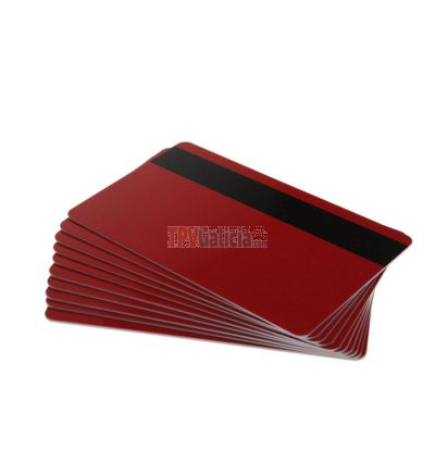 Tarjetas PVC rojas con banda magnética para impresoras de tarjetas (Pack de 100)