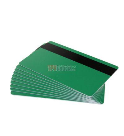 Tarjetas PVC verdes con banda magnética para impresoras de tarjetas (Pack de 100)