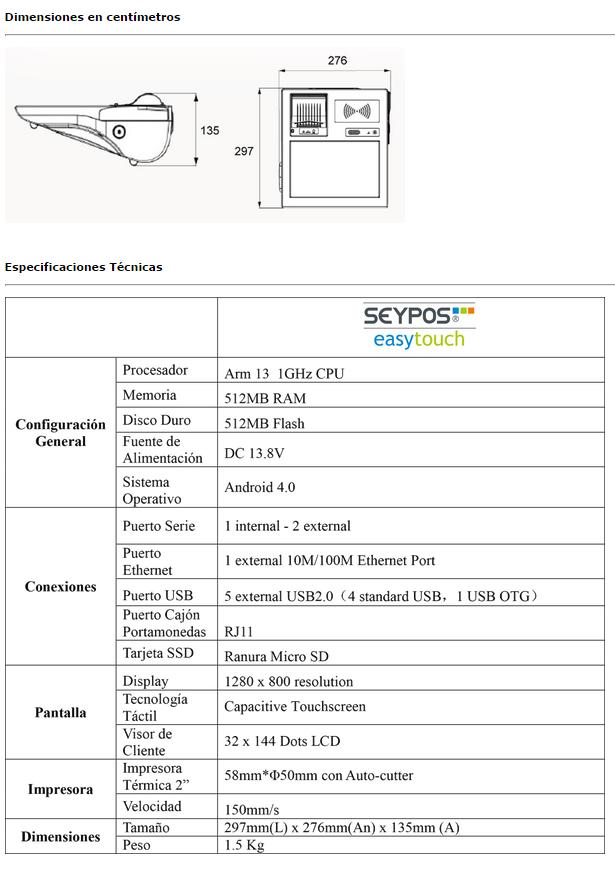 Pack TPV táctil Android EasyTouch con impresora 57 mm