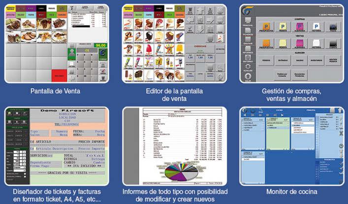 Software para la gestión de ventas de Restaurantes, Cafeterías, Pizzerías, Discotecas, Fast-Food, etc. Puede trabajar con mandos, monitores cocina, etc...